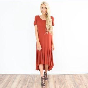 Dresses & Skirts - Paprika burnt orange ruffle flounce dress. Soft